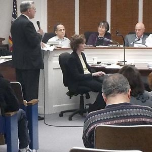 Attorney Paul Bloom addresses the Village of Great Neck's Planning Board last week on behalf of the Old Mill II project.