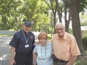 Pictured (L-R): Howard Kroplick, Town of North Hempstead Historian;  Hazel Kaufman-Pachtman and Sheldon Pachtman on the Long Island  Motor Parkway in Lake Success.