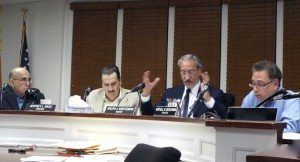 At the Hookah Lounge trial before the Old Village board of trustees, board members consider the issues. Pictured (l-r): trustees Norman Namdar and Jeff Bass; Mayor Ralph Kreitzman and Deputy Mayor Mitchell Beckerman.