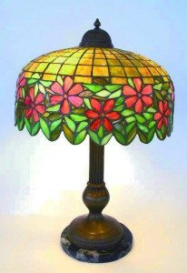 Handel-leaded glass shade lamp