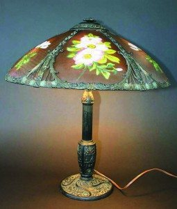 Phoenix reverse-painted paneled lamp