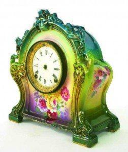 Victorian floral-painted porcelain mantel clock