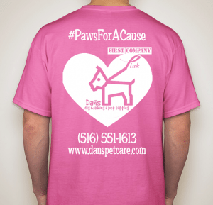 The money raised from selling these T-shirts goes to First Company Pink, a nonprofit that raises funds for breast cancer research and awareness.