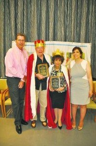 From left are AGES Chairperson Kevin Lawrence, 2015 Savvy Senior King Jim Alchus of Little Neck, 2015 Savvy Senior Queen Sabina Miller of Great Neck and AGES Savvy Senior Committee Chairperson Rita Medaglio-Barrera.