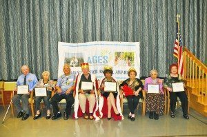 From left: Savvy Senior Day honorees Stanley Gayda of Maple Pointe Assisted Living in Rockville Centre, and Miriam Epstein, a resident at Atria Glen Cove in Glen Cove, 2014 Savvy Senior King William Young of Huntington, 2015 Savvy Senior King Jim Alchus of Little Neck, 2015 Savvy Senior Queen Sabina Miller of Great Neck, and Savvy Senior Day Honorees Siroon Shahinian, PhD of Great Neck and Rose Collo of Elmont.