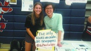 From left: Haley Raphael and Caroline Hong, staff members of the South High newspaper