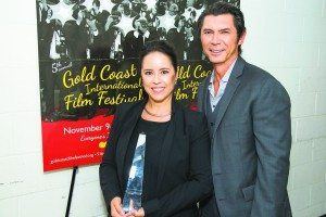 Former Great Neck resident Lou Diamond Phillips presented the Woman of Influence Award to director Patricia Riggen, whose film The 33 premieres this week.