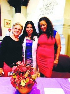 """From left: Susanne Marcus, Paz Menjivar and Dawn Diaz. Menjivar said that Marcus and Diaz are an inspiration. Marcus is an ESL teacher and coach to the students and parents at North High School in Great Neck. Menjivar said Marcus is """"...always going the extra mile for her students and their parents, involved in their lives and in events that only inspire good in others."""" Diaz is an advocate for those who have suffered violence and trauma in their lives, including victims of domestic violence. She is the founder of Milagros Day and is an author, coach, motivational speaker and great hope for the community. She was the keynote speaker at the health fair, where everyone was touched by her speech and words of encouragement."""