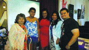 From left: Rosalina Menjivar (mother of Paz Menjivar), Giselle Rodrigues (daughter of Paz Menjivar), Dawn Diaz (keynote speaker), Paz Menjivar (event host and organizer, NAHN member), Mark Rodrigues (son of Paz Menjivar)