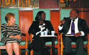 From left: Holocaust Survivor Anita Weisbord, Rwandan Genocide Survivor Jacqueline Murekatete and Member of The Hague Institute for Global Justice's Commission on Global Security, Justice and Governance, Rachid Murad, were part of a panel discussion, Confronting Genocide: How to Be an Upstander Against Evil.