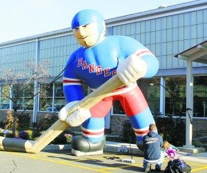 A blow-up Ranger greeted guests at the door of the Andrew Stergiopoulos Ice Rink.