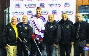 From left: Hockey Director Dan Marsella, Commissioner Frank S. Cilluffo, NY Ranger Mark Janssens, Commissioners Robert A. Lincoln, Jr., and Daniel M. Nachmanoff, and Park District Superintendent Peter Renick