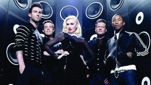 "Király turned all four judges' chairs while performing Marvin Gaye's ""What's Going On."" This season's judges (from left) are Adam Levine, Gwen Stefani, Blake Shelton and Pharrell Williams. Carson Daly (second from left) is the host."