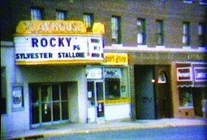 The Playhouse Theatre movie marquee, around 1976, advertises that Rocky was playing.