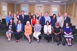 From left: back row, Town BTDC Executive Director Kim Kaiman, Jill Rader Levine, Cyrus Hakakian, Town Clerk Wayne Wink, Anita Johnson, Councilwoman Anna Kaplan, Councilman Peter Zuckerman, Alex Nuñez, Alexandra Ainatchi, Francisco Villagran, Town BTDC Deputy Director Roy Smitheimer; front row, Sharon Maier-Kennelly, Ilene Silberstein, Supervisor Judi Bosworth, Regina Gil, Councilwoman Dina De Giorgio, Ann-Marie Hudley-Simmons and Councilwoman Lee Seeman
