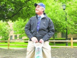 In September 2008, Peter enjoyed his ride at the opening of the Children's PlayGarden in the Village Green. (Photo by Michele Siegel)
