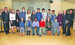 From left, seated: South Middle School Delegates Ella Wang, Joelle Siong Sin and Roshan Varughese; and North Middle Delegates Adam Sanders, Sofia Shafizadeh and Jason Mei. Standing: Assistant Superintendent–Secondary Dr. Stephen Lando, Superintendent Dr. Teresa Prendergast, Board Trustee Susan Healy, Village School Delegate Kylar Hoge, South High Delegates Elina Malamed, Rachel Schneider, Perry Choo, Sean Na and William Zheng, North High Delegate Alan Chau, Board President Barbara Berkowitz, and Board Trustees Donald Ashkenase and Monique Bloom. Not photographed: Board Vice President Lawrence Gross and North High Delegates Julia Hackman, Joseph Harooni and Eric Sedaghat. (Photo by Irwin Mendlinger)
