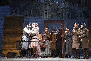 Great Neck native Adam Kantor as Motel, a tailor, shows off his new sewing machine to Alexandra Silber, Jennifer Zetlan (arm), Lori Wilner, Jacob Guzman, Adam Grupper, Reed Luplau, Jeffrey Schecter, Mitch Greenberg and Michael Bernardi, son of Herschel Bernardi, who starred as Tevye in original Fiddler in the '60s. (Photos by Joan Marcus)