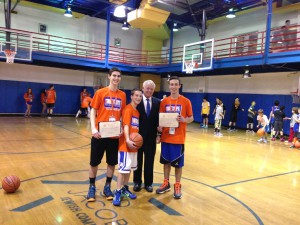 Ethan Bradford, Harrison Gillman and Jagger Gillman with Assemblyman Charles Lavine at last year's Hoops for Harrison