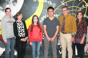 North High School Siemens Semifinalists Graelin Mandel and August Chen (center) are flanked by (from left): Department Chair Jessica Schust and Research Teachers/Advisors Dr. Marie van Nieuwenhuizen, Alan Schorn and Christina Pallante.