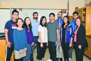 From left: South High School Siemens Semifinalists Michael Shen, Yujia Su, Annabelle Ng, Jaysen Zhang, Robin Shum and Sunny Shi with Research Teachers/Advisors Drs. Carol Hersh and James Truglio, Department Chair Bradley Krauz and Principal Susan Elliott