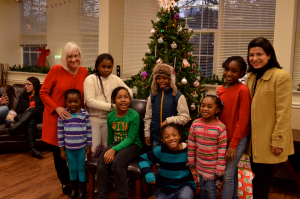 Supervisor Bosworth and Councilwoman Kaplan are pictured with the grandchildren of residents.