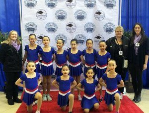 Ice Gems team with Coaches (from left) Erica Beggs, Audra Smith and Carole Liotti