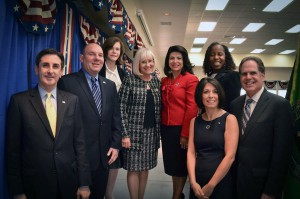 From left: Town Clerk Wayne Wink, Council Member Peter Zuckerman, Council Member Lee Seeman, Supervisor Judi Bosworth, Council Member Anna Kaplan, Council Member Dina De Giorgio, Council Member Viviana Russell and Receiver of Taxes Charles Berman at the inaugural ceremony