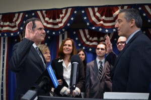 Former Town Supervisor Jon Kaiman administered the oath of office to Receiver of Taxes Berman.