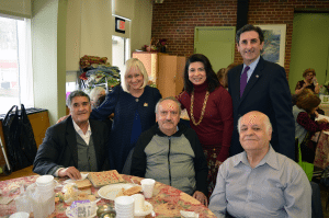 From left: Maussa Jadels, North Hempstead Town Supervisor Judi Bosworth, Jamrhid Sheye, Councilwoman Anna Kaplan, Town Clerk Wayne Wink and Parvis Shenassa celebrated Tu BiShvat at the Great Neck Social Center.