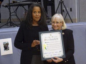 Shelia Bush of the Great Neck Childcare Partnership Board and Supervisor Judi Bosworth