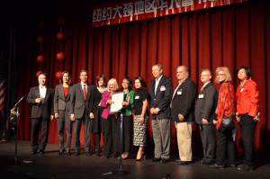 From left: Master of Ceremonies David Lin, Nassau County Legislator Ellen Birnbaum, New York State Senator Jack Martins, North Hempstead Councilwoman Lee Seeman, North Hempstead Town Supervisor Judi Bosworth, Great Neck Chinese Association President Shuna Luk, North Hempstead Councilwoman Anna Kaplan, Great Neck Park District Commissioners Daniel Nachmanoff, Robert Lincoln and Frank Cilluffo, New York State Assemblywoman Michelle Schimel and Great Neck Chinese Association Advisor Betty Leong