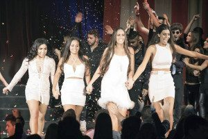 From left: Becky Rojas, Kim Mishra, Elizabeth Voight and Sydney Someck strutted on stage. (Photo by Julian Bracero)