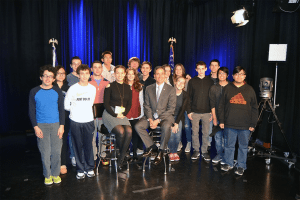 Senator Martins is on the set of Teen TV with students from Great Neck North,  Great Neck South, Manhasset, Herricks and Roslyn High Schools.
