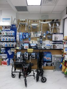 An extensive selection of medical equipment, including surgical supplies, canes, wheelchairs and walkers, is available at the store.