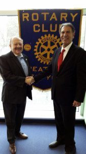 Great Neck Rotary President Leonard N. Katz (left) with attorney Ronald Fatoullah