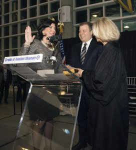 Madeline Singas was sworn-in by Chief Judge of the State of New York Janet DiFiore with husband, Theo Apostolou, by her side.