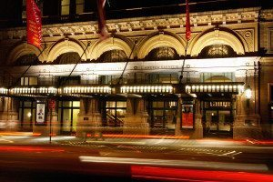 Carnegie Hall at night.
