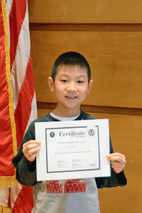 Gregory Leung is the North Middle School winner of the school-level National Geographic Bee.  (Photo by Elaine Brendel)