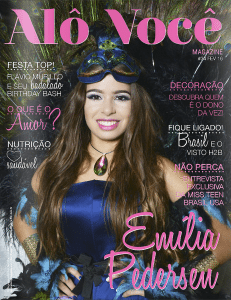 Emilia Pedersen was on the cover of the February issue of Alô Você magazine.