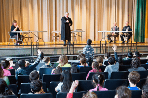 Saddle Rock students asked thoughtful and insightful questions at the close of the mock trial. (Photo by Jeff Barlowe)