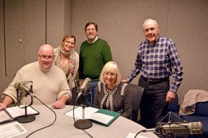 From left: John Ryan, host of the Project Independence and You radio show; Kristina Lew, producer Project Independence and You radio show; Dan Cox, director of WCWP radio station; Supervisor Judi Bosworth and Project Independence member Otto Losche at the recording studio.