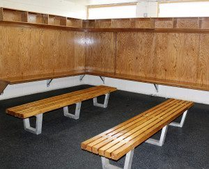 The renovations are complete in this new locker room and it's ready for skaters.