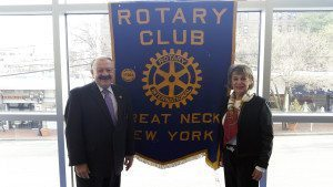 From left: Leonard N. Katz, president of the Rotary Club of Great Neck, with Roz Meyerson, fundraising vice president and cochair of the 2016 Hadassah Nassau Stem Cell Walk-a-Thon