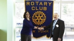 From left: Jeanne Ellis, fundraising coordinator of The Marty Lyons Foundation, with Leonard N. Katz, president of the Rotary Club of Great Neck