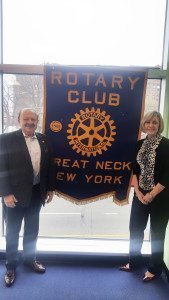Great Neck Rotary President Leonard N. Katz (left) with Cindy Doerler