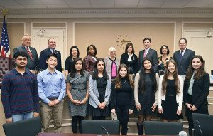 Eight of the winners are pictured here (from left, front row): Vikram Krishnamoorthry, Nathan Yang, Sabreen Bhuiya, Ayesha Chhugani, Graelin Mandel, Emily Bae, E. Madeline Fagen, Emma Feldman with (back row): Council Members Angelo Ferrara, Peter Zuckerman, Anna Kaplan and Viviana Russell, Supervisor Judi Bosworth, Councilwoman Lee Seeman, Town Clerk Wayne Wink, Councilwoman Dina De Giorgio and Receiver of Taxes Charles Berman.