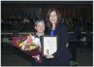 From left: Lois Schaffer and Legislator Ellen W. Birnbaum