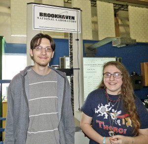 Evan Racsko (left) and Emma Strassberg competed in the Model Bridge Building Contest. (Photo by Toby Hatten)