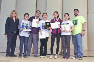 From left: Envirothon organizer Sharon Frost with South High Envirothon winners Angelina Wang, Allan Lee, Angela Chi, Ann Zhang and Katelyn Chang